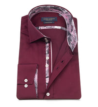 Load image into Gallery viewer, Guide London Satin Cotton Shirt Burgundy