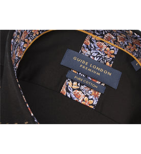 Guide London Floral Trim Shirt Black