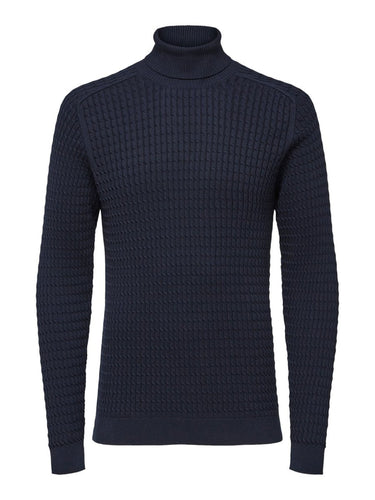 Selected Homme Carlos Roll Neck Jumper Navy