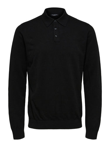 Selected Homme Berg Polo Jumper Black