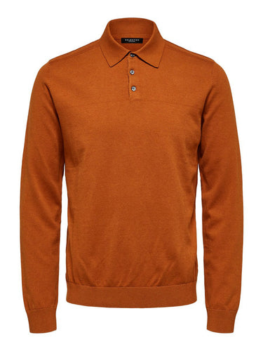 Selected Homme Berg Polo Knit Pumpkin