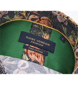 Guide London Flamingo Print Shirt Navy (LS75413)