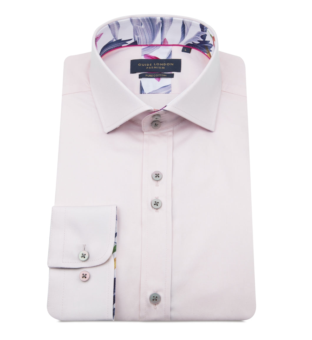 Guide London Plain Tailored Shirt Pink (LS75487)