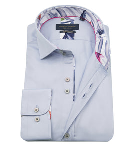 Guide London Plain Tailored Shirt Sky (LS75487)