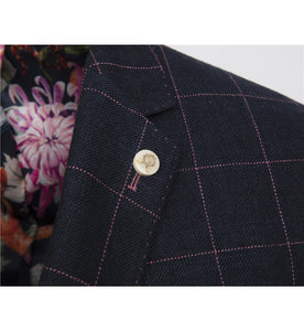 Guide London Checked Linen Mix Jacket Navy Pink (JK3392)