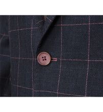 Load image into Gallery viewer, Guide London Checked Linen Mix Jacket Navy Pink (JK3392)
