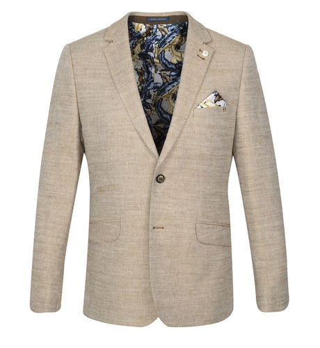 Guide London Plain Linen Mix Jacket Sand (JK3376)