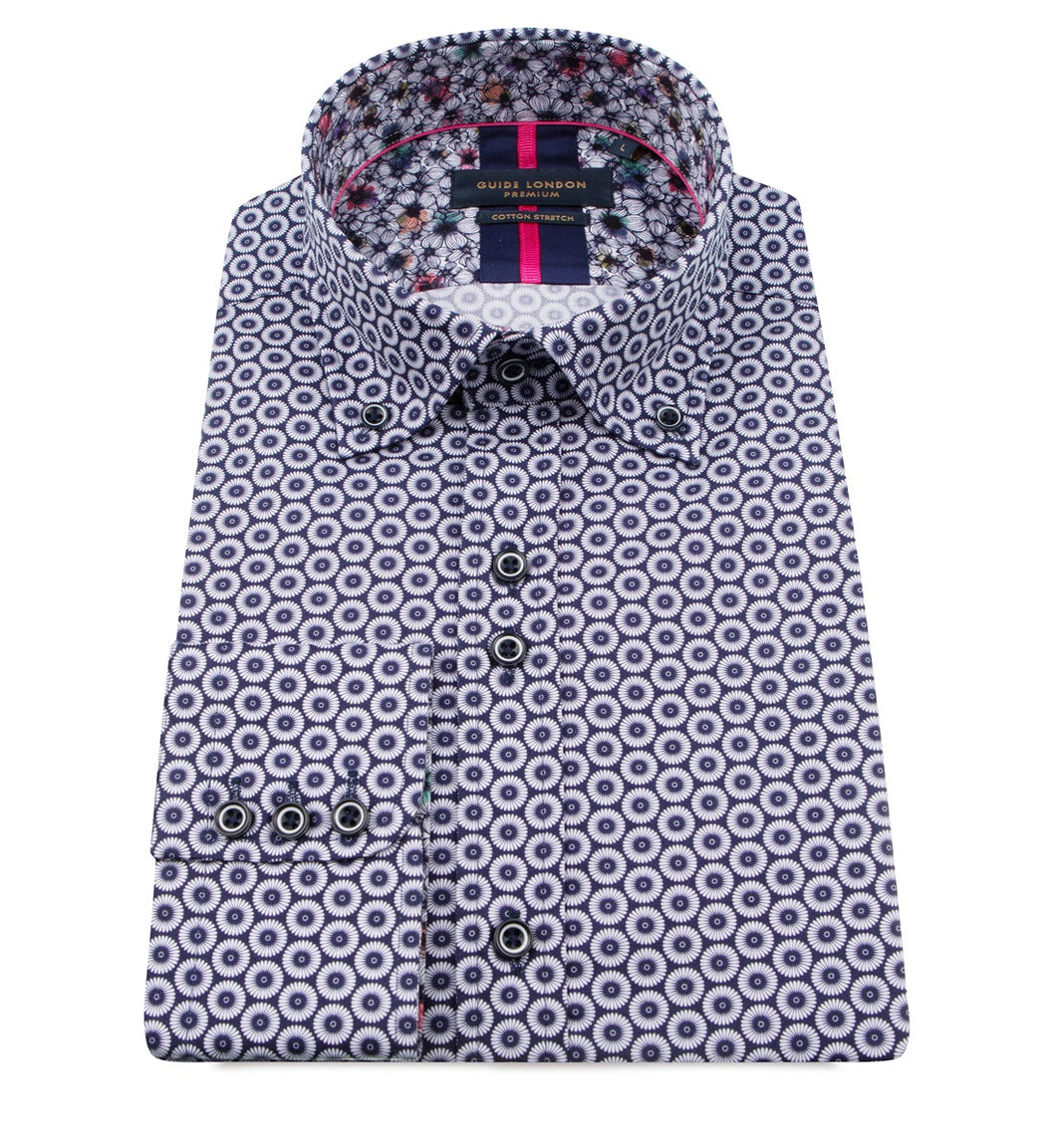 Guide London Circle Print Shirt Navy