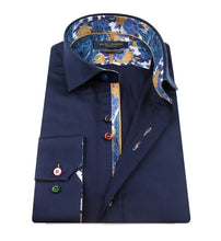 Load image into Gallery viewer, Guide London Plain Navy Shirt Floral Trim