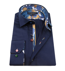 Guide London Plain Navy Shirt Floral Trim