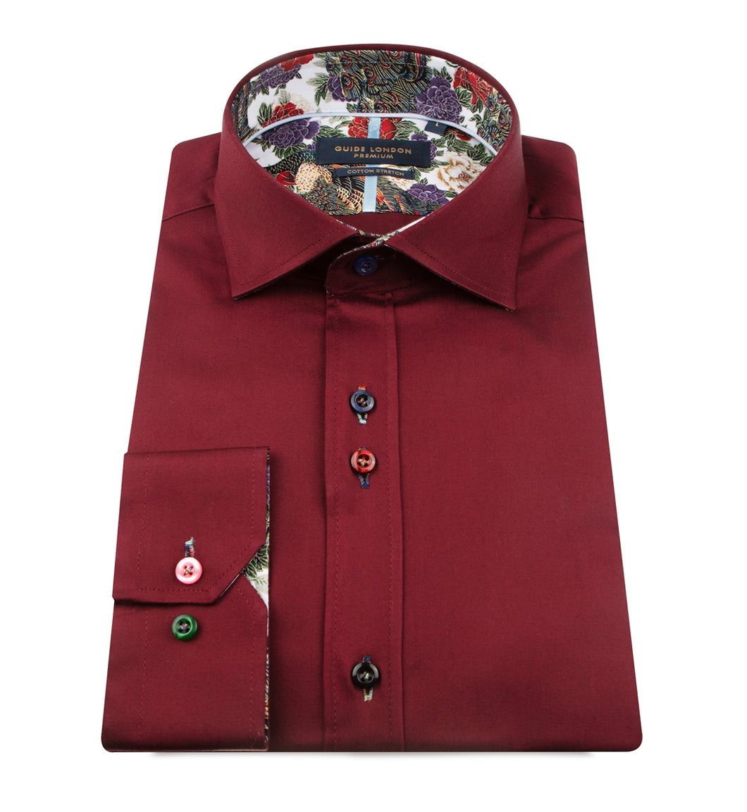 Guide London Plain Burgundy Shirt Floral Trim