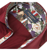 Load image into Gallery viewer, Guide London Plain Burgundy Shirt Floral Trim
