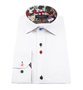 Guide London Plain White Shirt Floral Trim