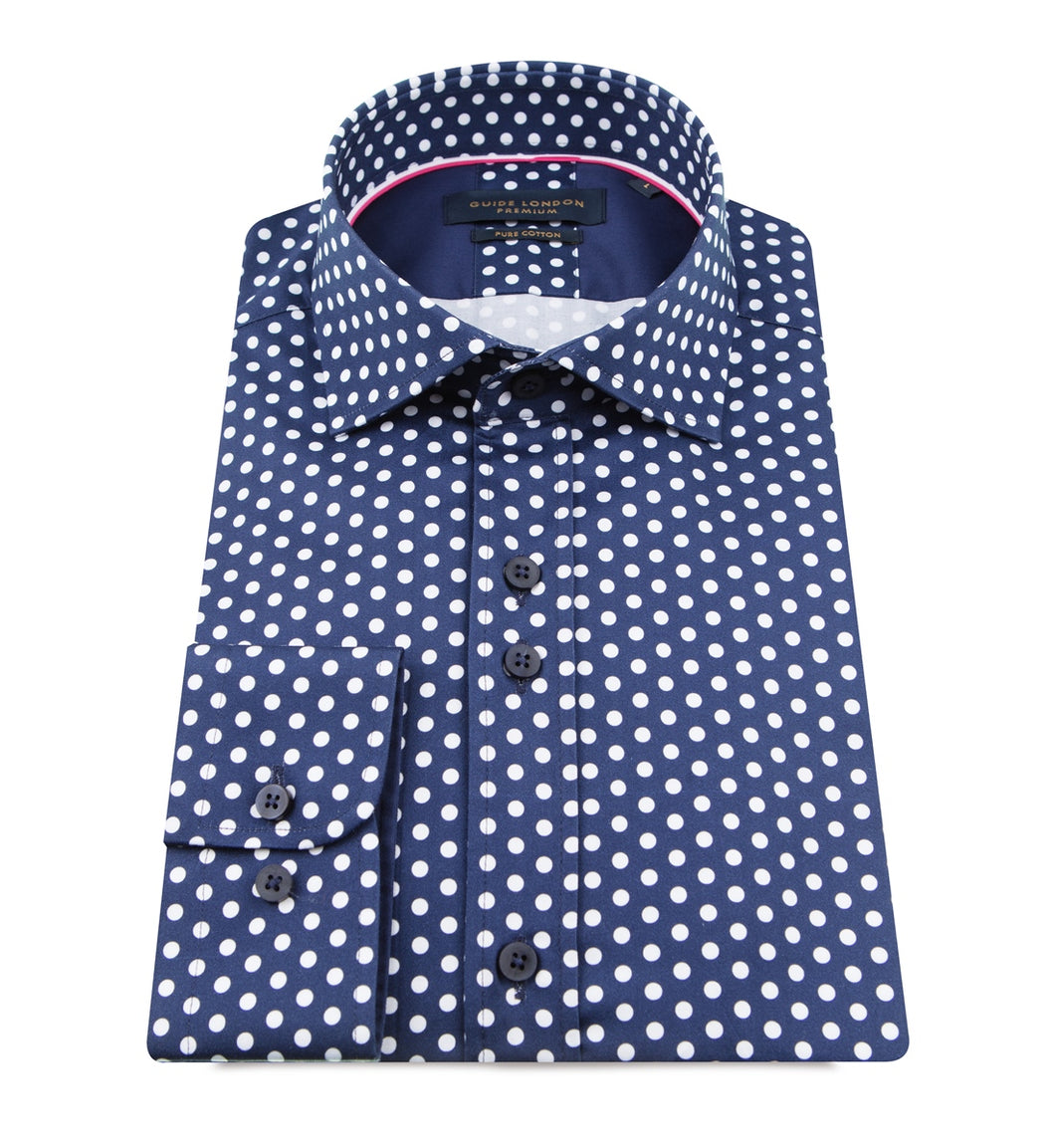 Guide London Polka Dot Shirt Navy White