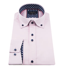 Guide London Plain Shirt with Polka Dot Trim Pink