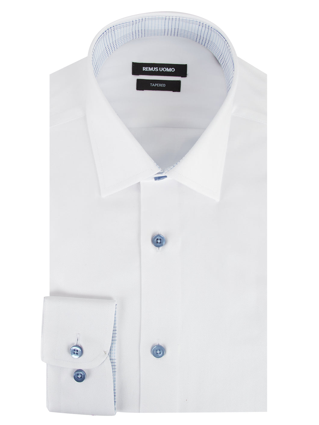 Remus Uomo Plain Herringbone Shirt White