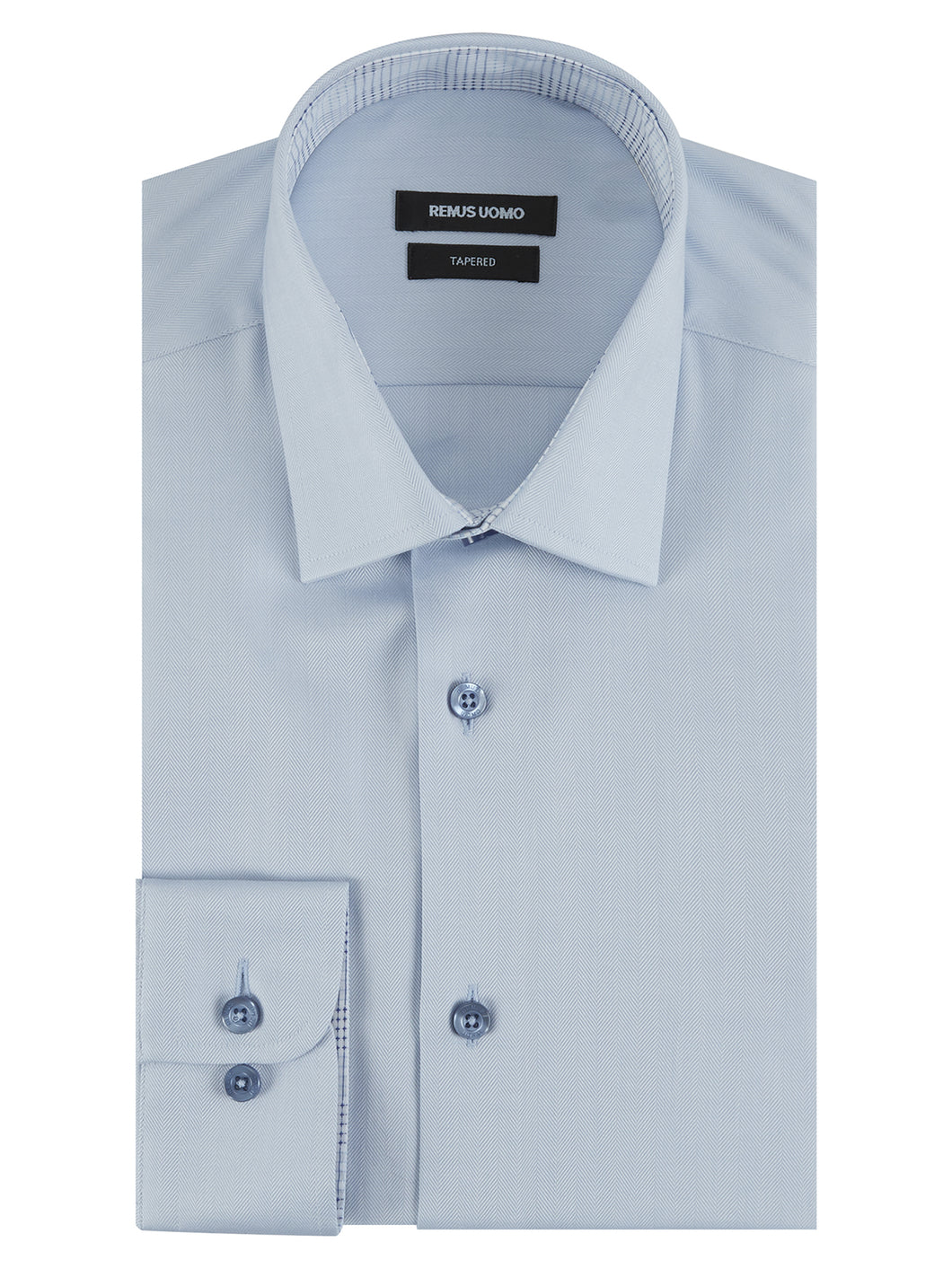 Remus Uomo Plain Herringbone Shirt Blue