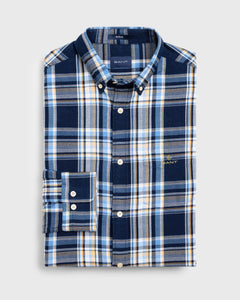 Gant Flannel Check Shirt Dark Indigo