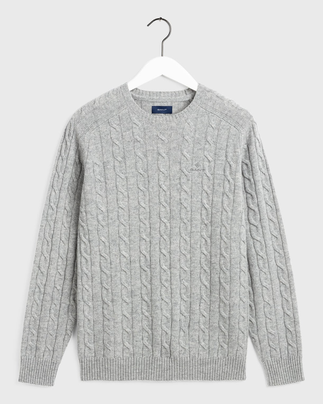 Gant Cable Knit Lambswool Jumper Grey Marl