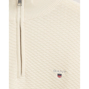 Gant Triangle Texture Half Zip Jumper Cream