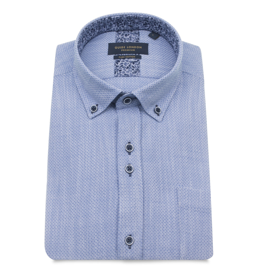 Guide London Textured Short Sleeve Shirt Sky
