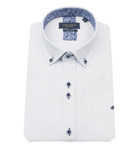 Guide London Textured Short Sleeve Shirt White