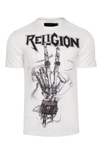 Religion Peace Skeleton T-Shirt White