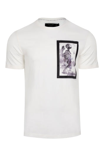 Religion Skeleton Paint Bondage T-Shirt White
