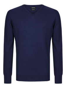 Remus Uomo V-Neck Jumper Dark Blue