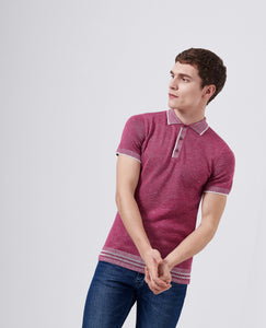 Remus Uomo Fine Knit Polo Top Pink