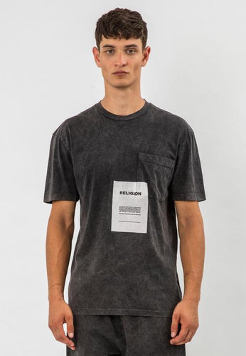Religion Acid Patch T-Shirt Washed Grey