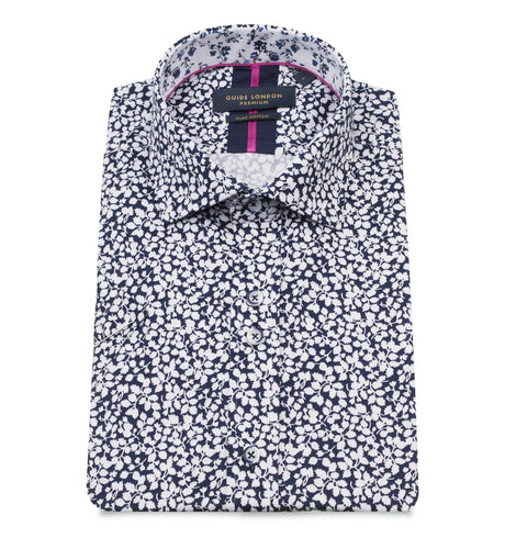 Guide London Floral Print Short Sleeved Shirt