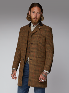 Gibson London Checked Wool Coat Tan and Brown