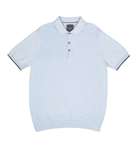 Guide London Classic Knit Polo Sky