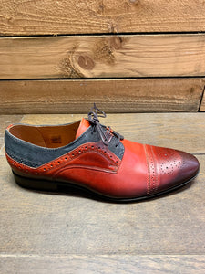 Lacuzzo Brogue Detail Shoe Red with Black