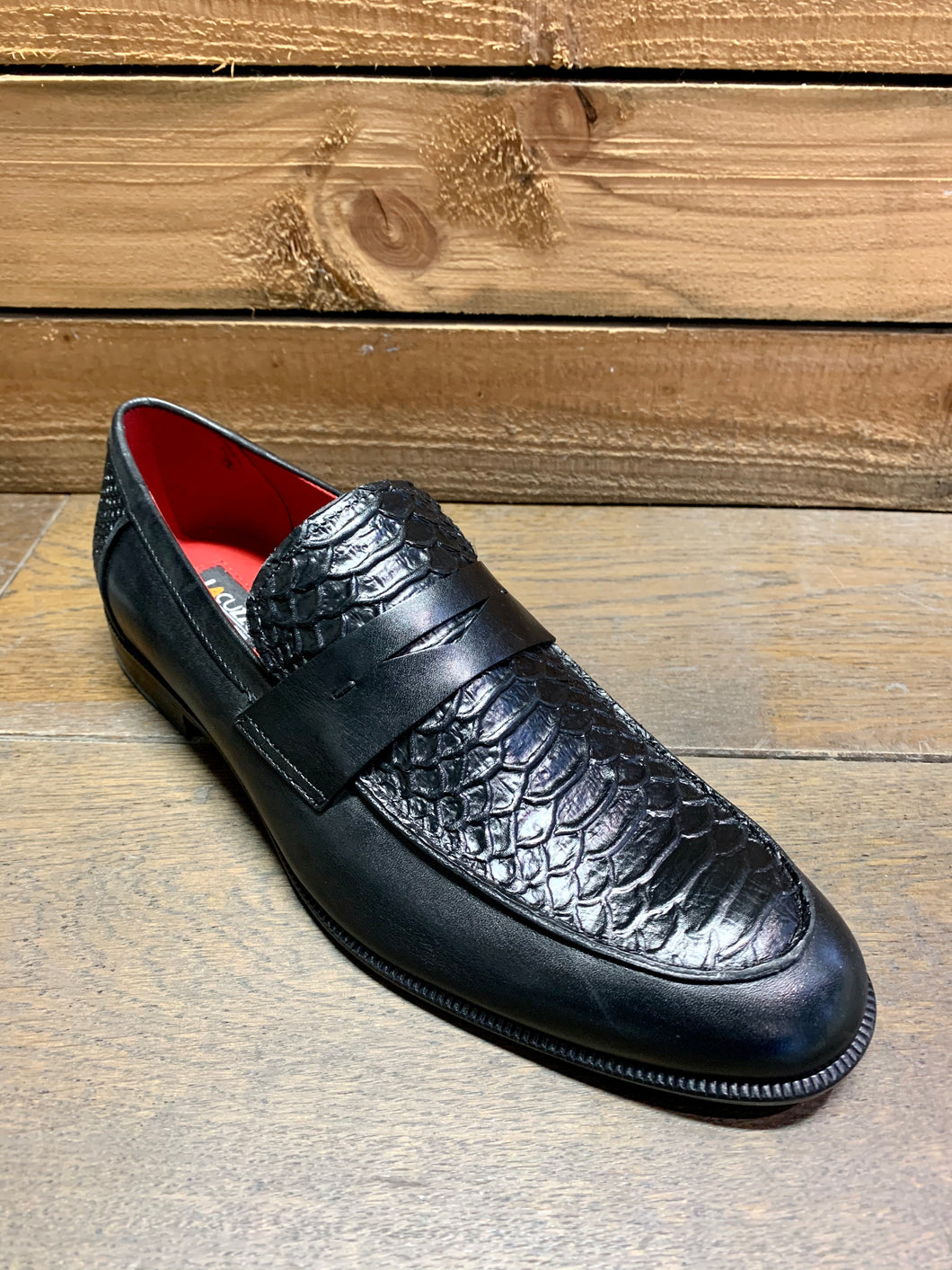 Lacuzzo Snakeskin Design Loafers Black