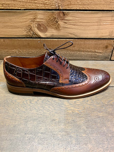 Lacuzzo Croc Texture Brogue Shoes Brown
