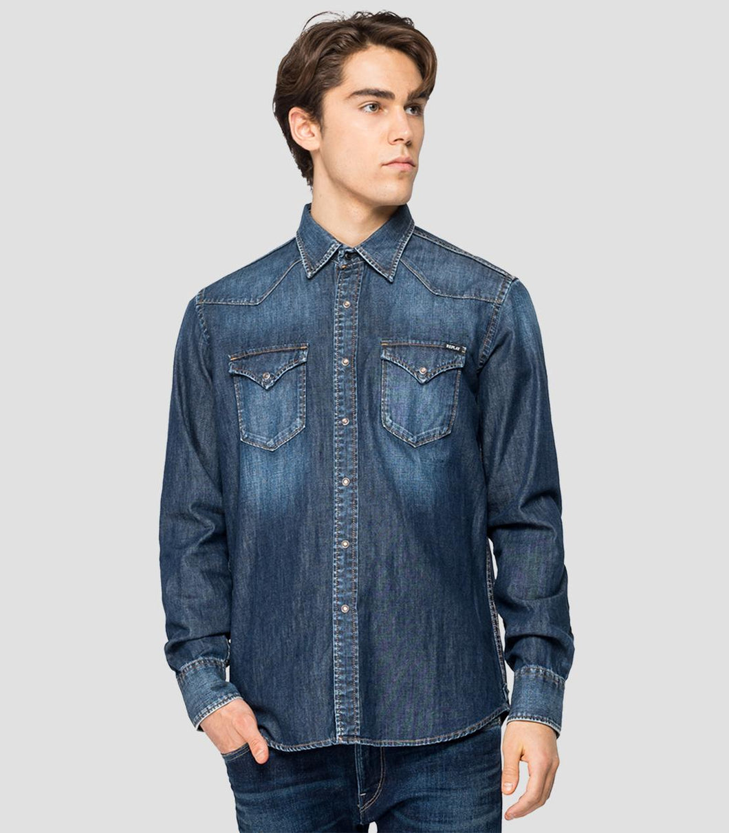 Replay Denim Shirt Blue