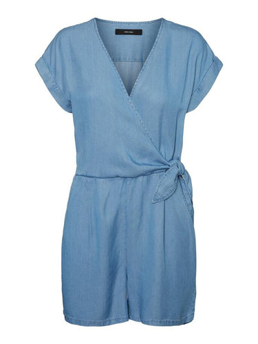 Vero Moda Laura V Neck Knot Playsuit Blue