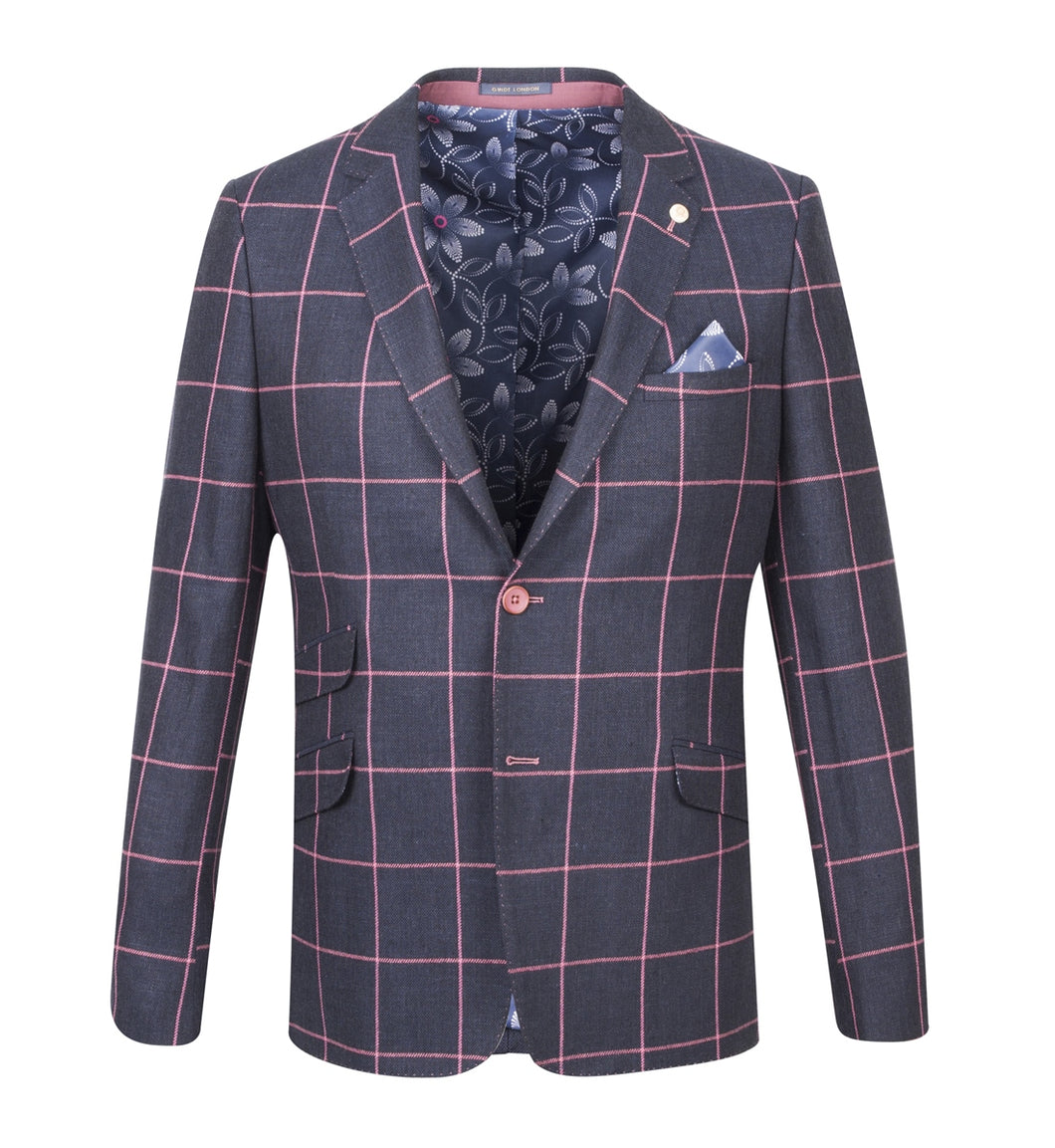 Guide London Checked Jacket Navy Pink
