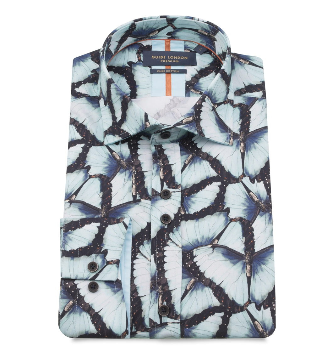 Guide London Butterfly Print Shirt Blue
