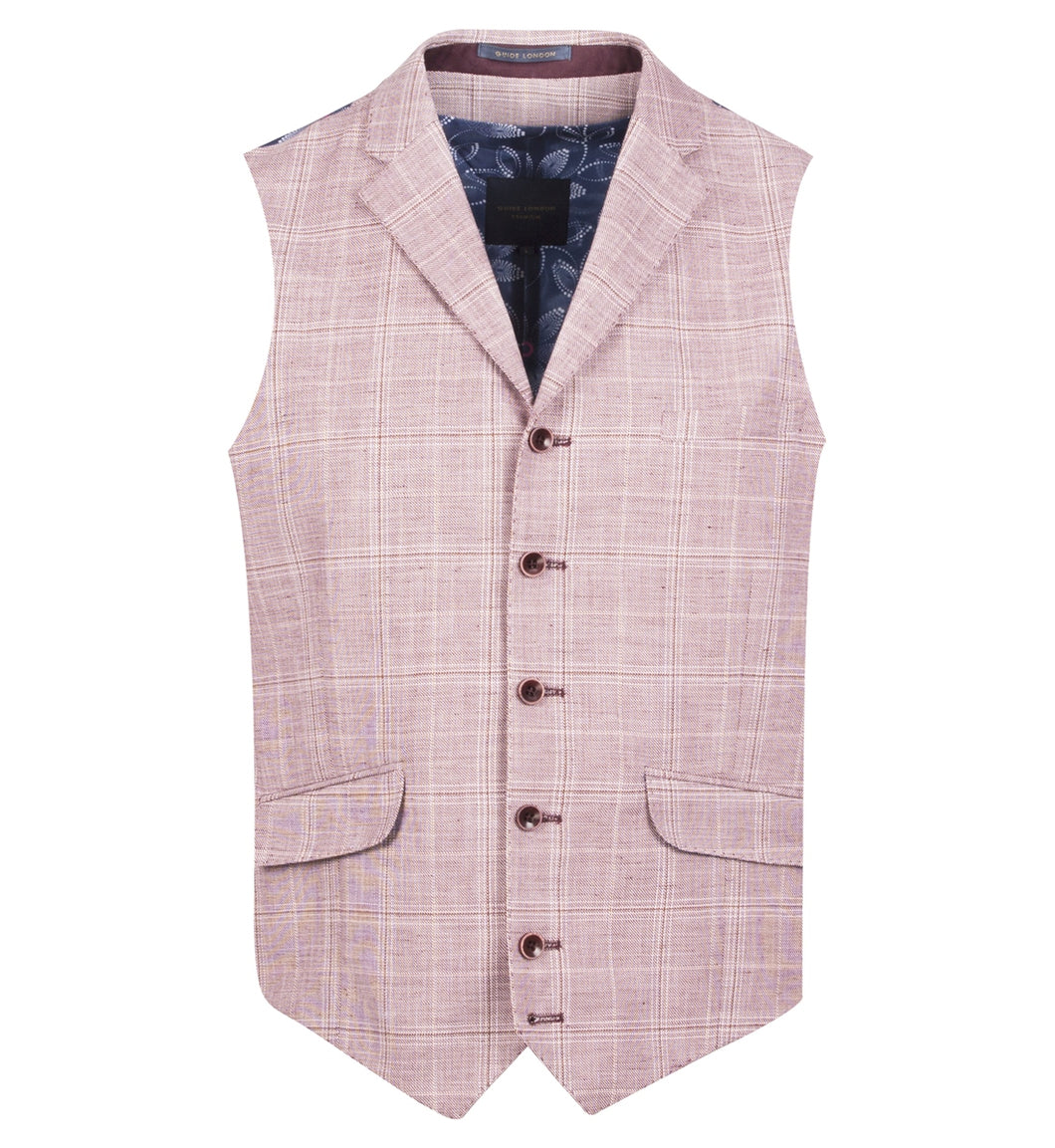 Guide London Checked Linen Mix Waistcoat