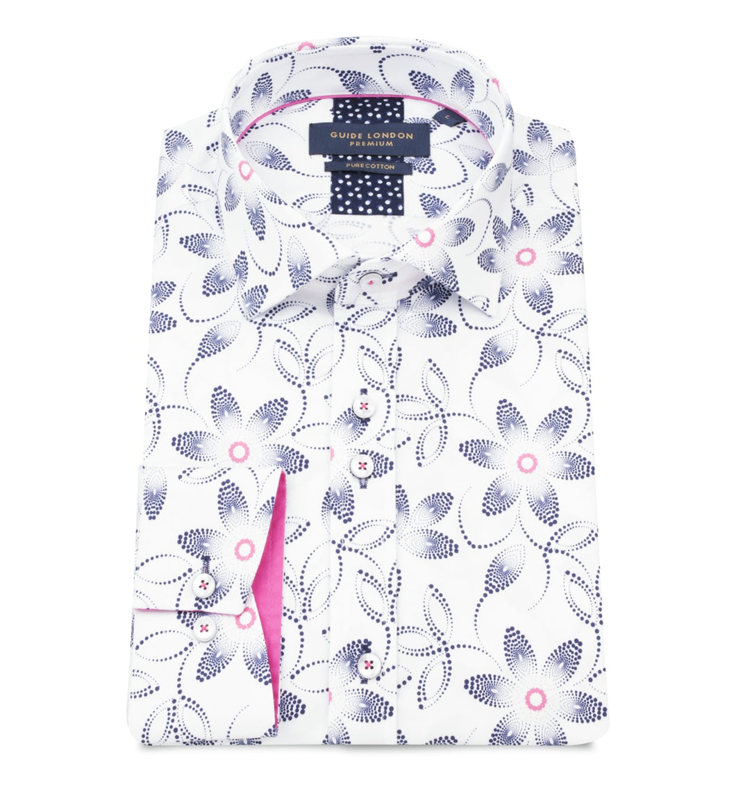 Guide London Patterned Shirt White Mix