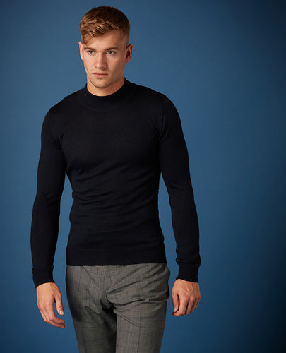 Remus Uomo Navy Turtle Neck Knit