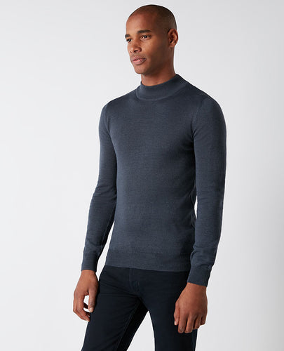 Remus Uomo Turtle Neck Knit Steel Blue