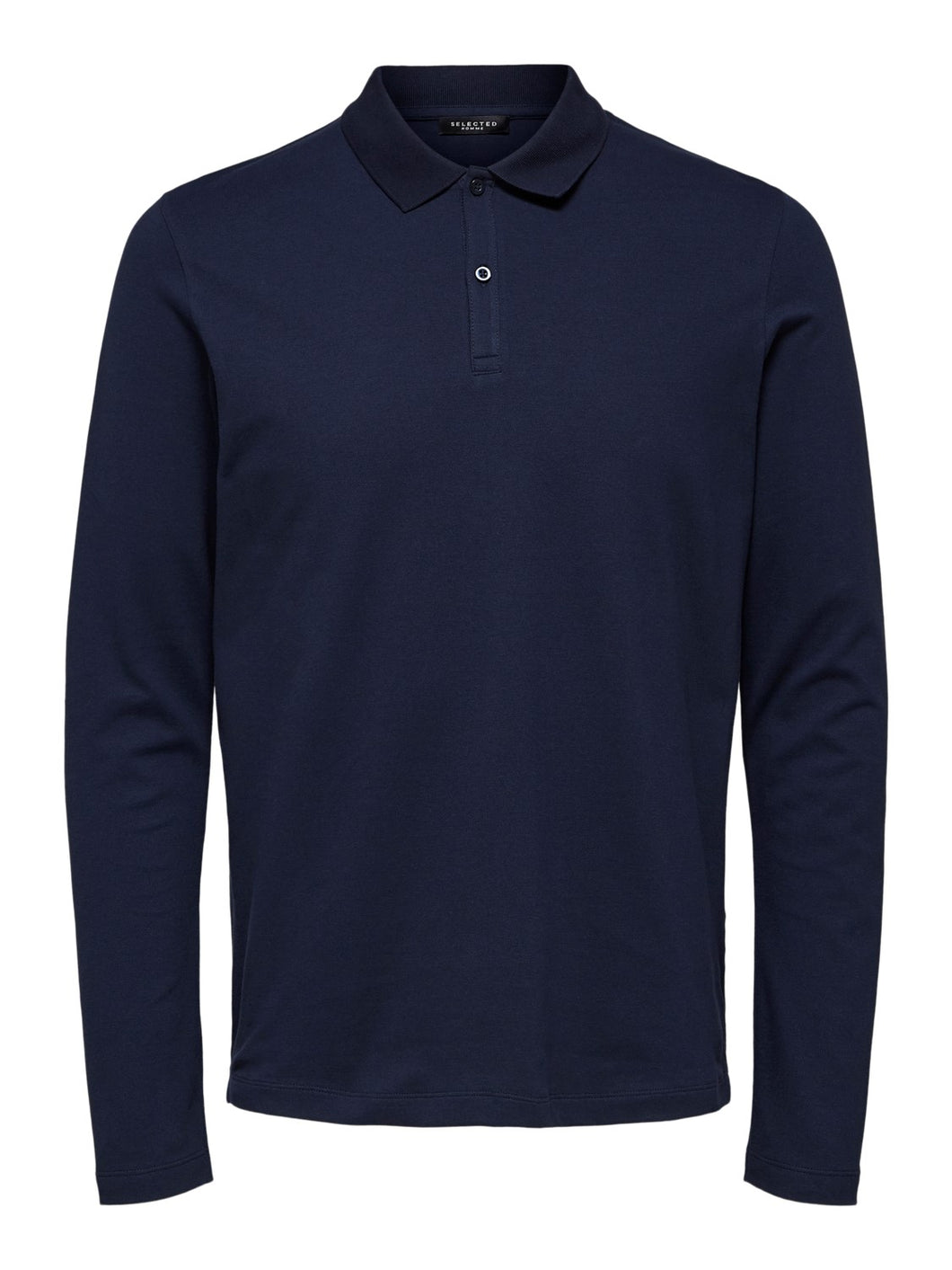 Selected Homme Milano Long Sleeve Polo Navy