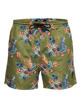 Load image into Gallery viewer, Only & Sons Tan Swimshorts All Over Print Olive