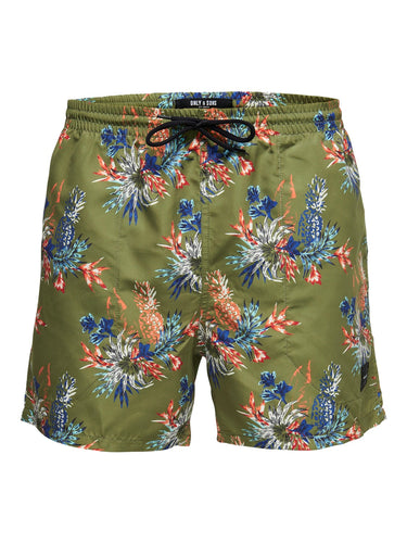 Only & Sons Tan Swim Shorts All Over Print Olive