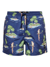 Load image into Gallery viewer, Only & Sons Tan Swim Shorts All Over Print Navy