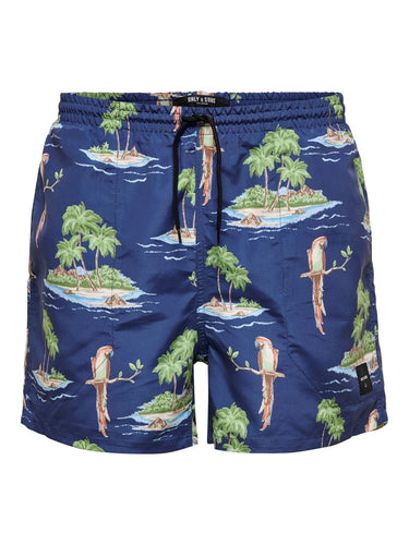 Only & Sons Tan Swimshorts All Over Print Navy